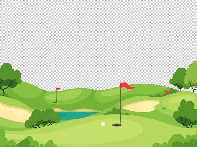 Sfondo di golf. campo da golf verde con buche e bandiere rosse per biglietto d'invito, poster e banner, modello di vettore del torneo di gioco. bandiera da golf su erba verde, concorrenza e illustrazione per il tempo libero