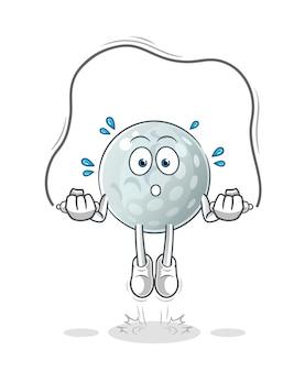 Illustrazione di esercizio della corda di salto della pallina da golf. carattere
