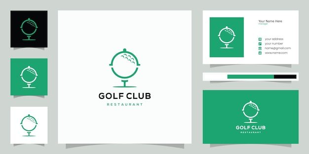 Combinazione di design del logo con pallina da golf e foglia