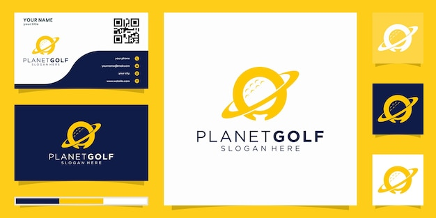 Logo della pallina da golf per attività sportive e ricreative. icona per la marca dell'illustrazione di progettazione del marchio del club di golfista