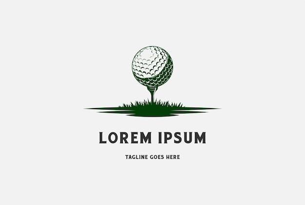 Pallina da golf e tee con erba per sport club logo design vector