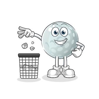 Pallina da golf lancia la spazzatura nella mascotte del cestino. cartone animato