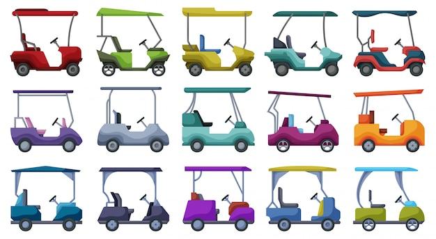 Icona stabilita del fumetto dell'automobile di golf. auto illustrazione su sfondo bianco. cartoon set icon golf car.