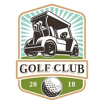 Disegno di marchio del carrello da golf su priorità bassa bianca. il testo è sul livello separato.
