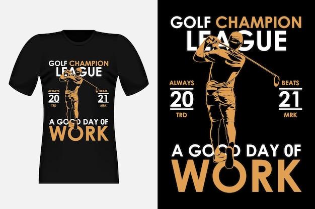 Illustrazione di design di t-shirt vintage sagoma della siluetta della lega del campione di golf
