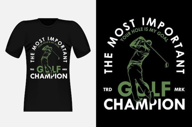 Campione di golf il design di t-shirt vintage con silhouette più importante
