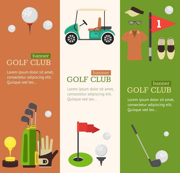 Insieme verticale della bandiera del club di golf