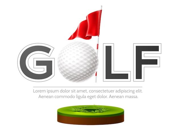 Emblema del club di golf con bandiera realistica e pallina da golf su erba verde