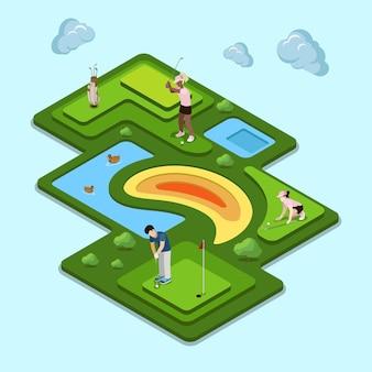 Concetto di campo da golf. isometria isometrica sito web icona app set concetto illustrazione. collezione di persone creative.
