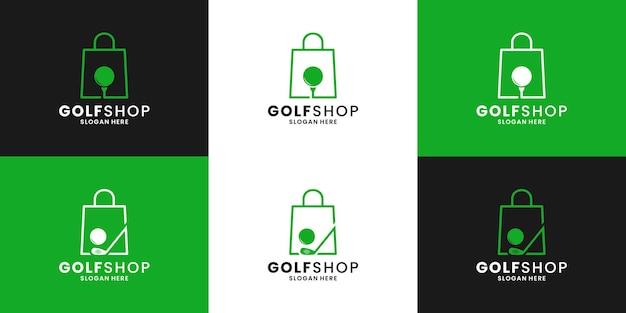 Design del logo del negozio di attrezzature da golf con negozio di borse