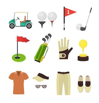 Set di stili di attrezzatura da golf per mobile e web app.