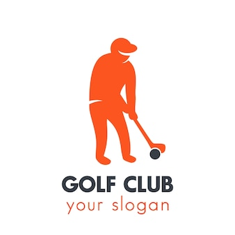 Elemento logo golf, giocatore di golf con mazza su bianco