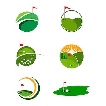 Progettazione dell'icona dell'illustrazione di vettore del modello di logo di golf
