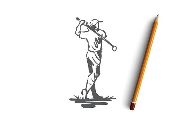 Golf, uomo, palla, gioco, concetto di sport. uomo disegnato a mano che gioca a golf schizzo concetto all'aperto. illustrazione.