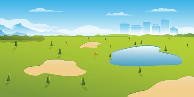 Lago del parco di golf con il giorno soleggiato della vista della costruzione della città della montagna