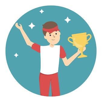 Giocatore di golf con una coppa trofeo. campione felice