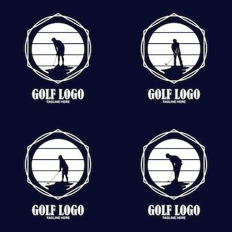 Logo premium da golf, elegante etichetta sportiva vintage per campionato di golf, club, biglietto da visita illustrazione vettoriale su sfondo bianco
