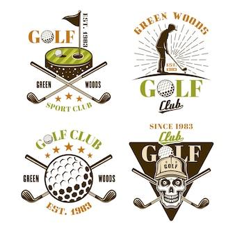 Set da golf di emblemi, distintivi, etichette o loghi colorati vettoriali in stile vintage isolati su sfondo bianco