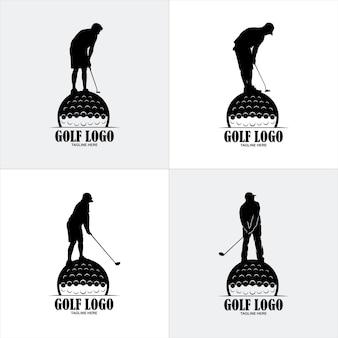 Logo del distintivo dell'emblema dello scudo di golf, modello di progettazione del logo della siluetta di sport del golf