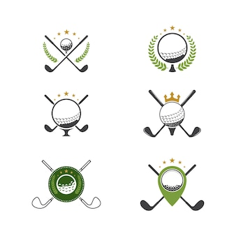Icona dello sport del golf modello dell'icona dell'illustrazione di vettore del modello