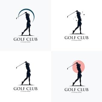 Modello di progettazione del logo della siluetta di sport di golf