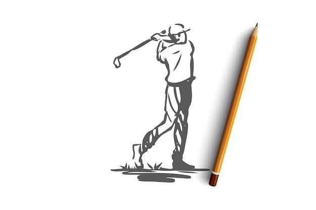 Golf, torneo, gioco, sport, concetto di golfista. giocatore disegnato a mano sullo schizzo di concetto del torneo di golf. illustrazione.