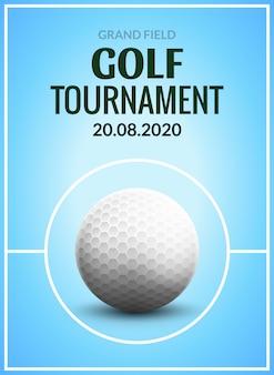 Aletta di filatoio del modello del manifesto del torneo di golf. sfera di golf su erba verde per concorrenza. design di club sportivi