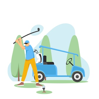 Golfista che colpisce golf shot con golf car