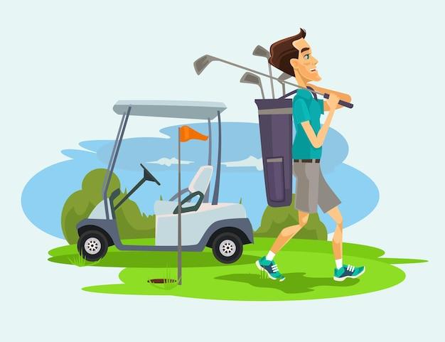 Carattere dell'uomo del golfista che gioca golf