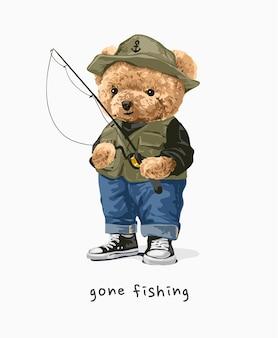Bambola orso andata a pesca con canna da pesca