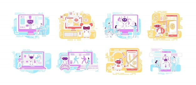 Insieme di illustrazioni di concetto di linea sottile di buoni e cattivi robot. personaggi dei cartoni animati dei robot di internet per il web. software informatico per assistenti di ia personale. idee creative per malware dannoso