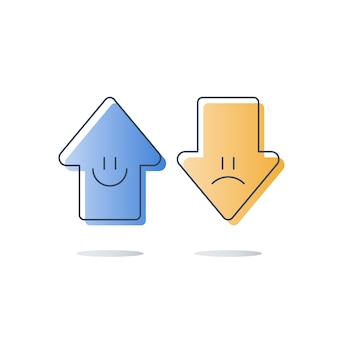 Recensione del cliente buona o cattiva, valutazione della valutazione della qualità del servizio, esperienza felice o infelice, sondaggio di feedback, sondaggio di opinione, concetto di valutazione della soddisfazione, frecce su o giù, icona