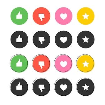 Grafica vettoriale set di icone buone e cattive preferite