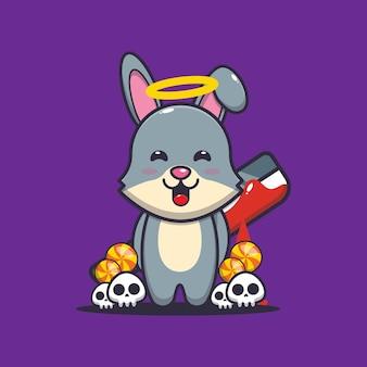 Coniglio buono o cattivo che tiene in mano un machete insanguinato simpatica illustrazione di cartone animato di halloween