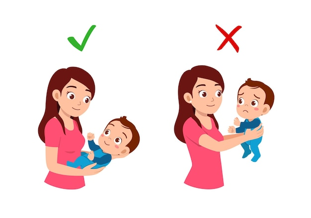 Buono e cattivo modo per la madre di tenere in braccio il bambino