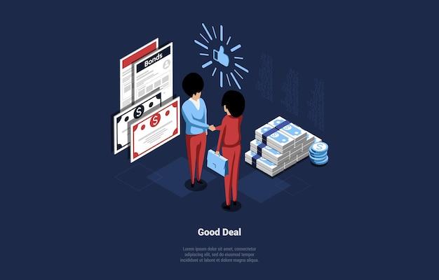 Illustrazione di concetto di buon affare in stile cartone animato 3d.