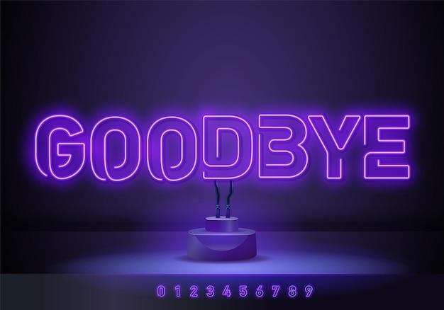Arrivederci modello di disegno vettoriale di testo al neon. good bye logo al neon, elemento di design luminoso banner design moderno e colorato tendenza, pubblicità luminosa notturna, segno luminoso. illustrazione vettoriale