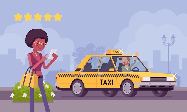 Buona macchina e autista nel sistema di app di valutazione dei taxi