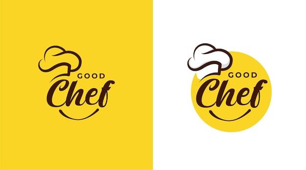 Modello di progettazione del logo del ristorante del buon chef