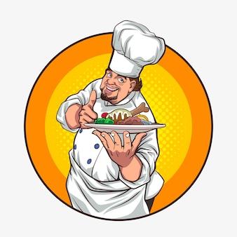 Buon chef pollice in su portando il piatto di cibo sul segno del cerchio in stile fumetto retrò vintage pop art