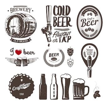 Buone etichette, emblemi ed elementi di design del birrificio per birra artigianale. set vintage