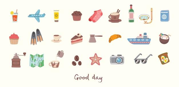Buona giornata. grande set di icone e oggetti correlati a cibo, viaggi e vacanze estive.