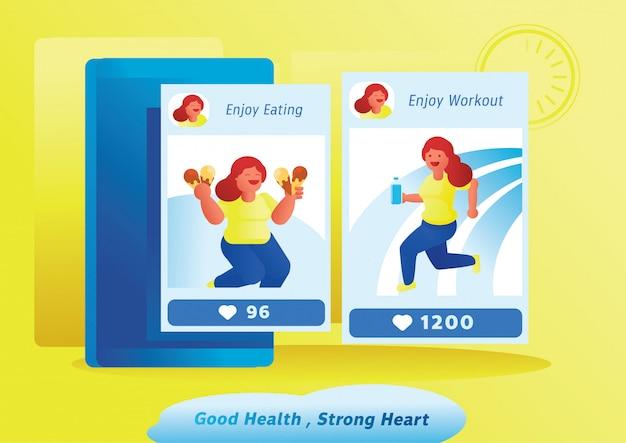 Illustrazione di vettore della donna del forte cuore di buona salute