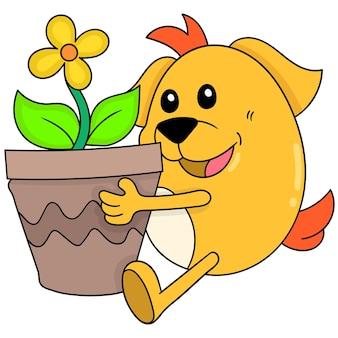 I buoni mostri che abbracciano nutrono le piante di girasole, l'arte dell'illustrazione vettoriale. scarabocchiare icona immagine kawaii.