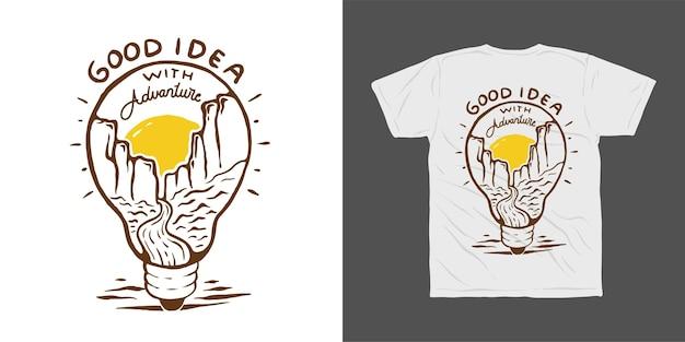Buona idea advanture illustrazione t-shirt design