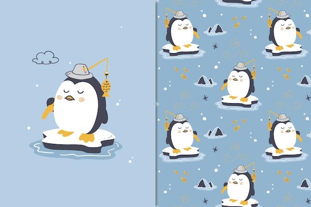 Buona fortuna pinguino seamless pattern