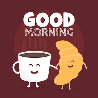 Buongiorno illustrazione vettoriale. croissant carino divertente e caffè disegnato con un sorriso, occhi e mani.