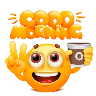 Buongiorno adesivo web. personaggio dei cartoni animati giallo emoji con tazza di caffè. emoticon sorriso viso.