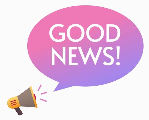 Annuncio di buone notizie tramite il fumetto piano dell'illustrazione di vettore del messaggio della bolla dell'altoparlante del megafono felice Vettore Premium