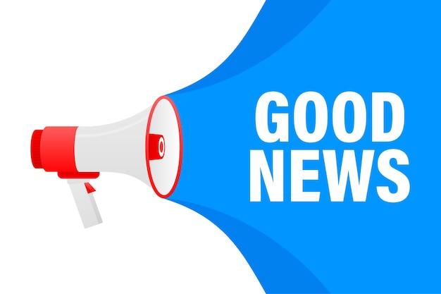 Banner giallo megafono di buone notizie in stile 3d su bianco
